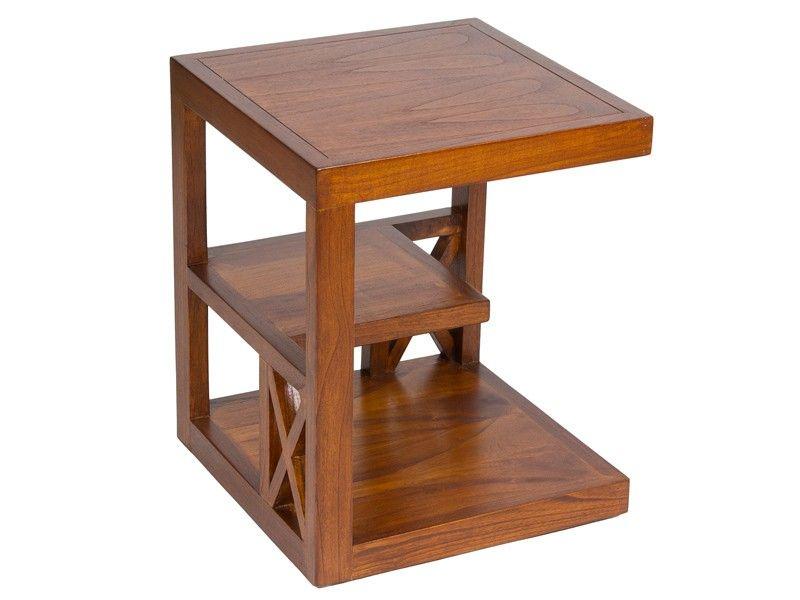 Mesa rinconera con estantes madera acacia forest mesas for Mesa auxiliar esquinera
