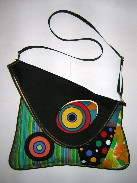 Items similar to LARGE CANVAS BAG colorful   Green-Turquise-Blue-Orange-Lime  with circles on Etsy