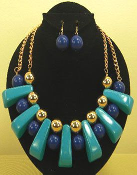 Art Deco Goldtone Necklace with Earrings Accented with Royal & Teal Blue Beads