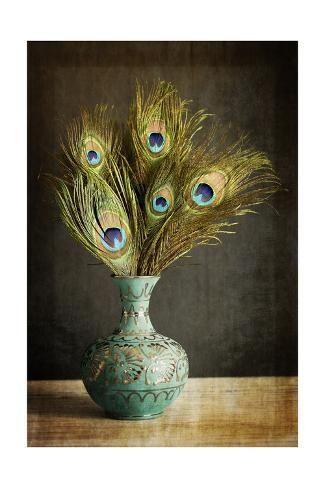 PEACOCK PLUME CANDLEHOLDER Feathers  Metal Farmhouse Blue Decor Centerpiece