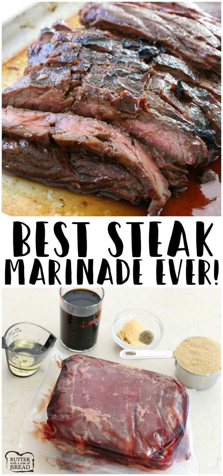 Steak marinade for the best steak of your life! Made with soy sauce, brown sugar, olive oil, ginger and garlic; you'll never taste a better steak marinade! #marinadeforskirtsteak