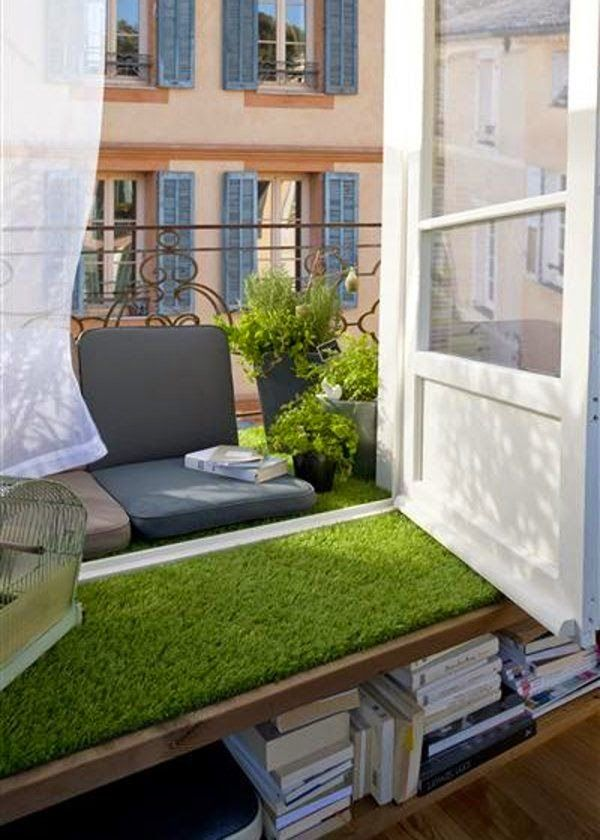 Una buena idea pon c sped artificial en tu terraza lanai porches patios whatevers pinterest - Cesped artificial terraza ...