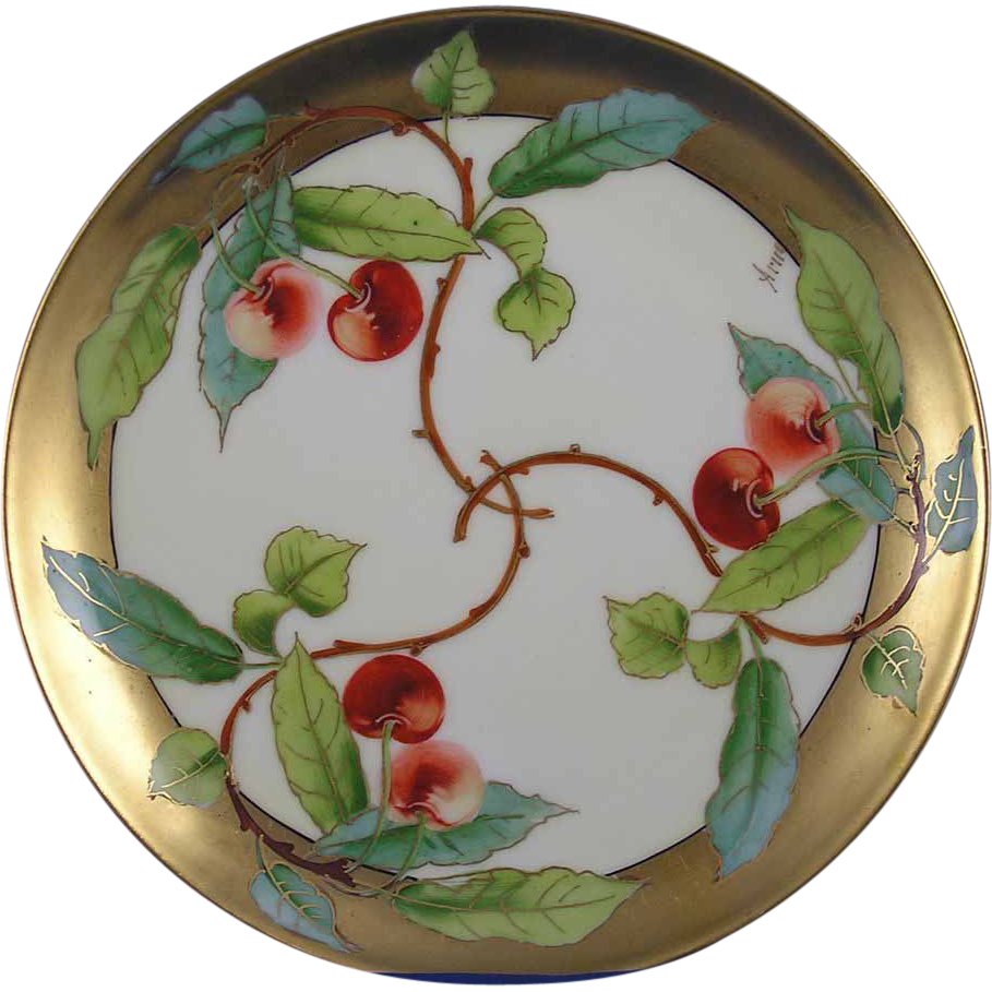 "Haviland Limoges Stouffer Studio Cherry Motif Plate (Signed ""Arno"" for Edith Arno/c.1906-1914)"