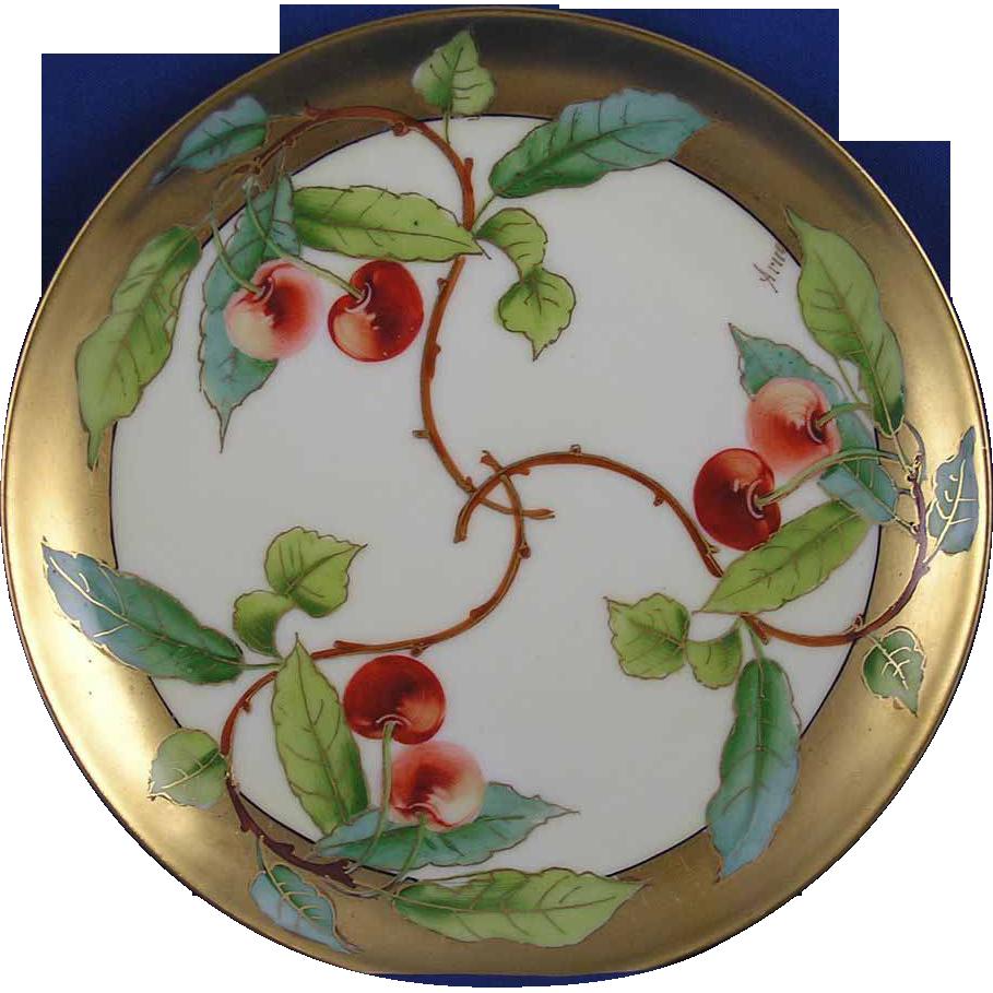 "Haviland Limoges Stouffer Studio Cherry Motif Plate (Signed ""Arno"" for Edith Arno/c.1906-1914)"