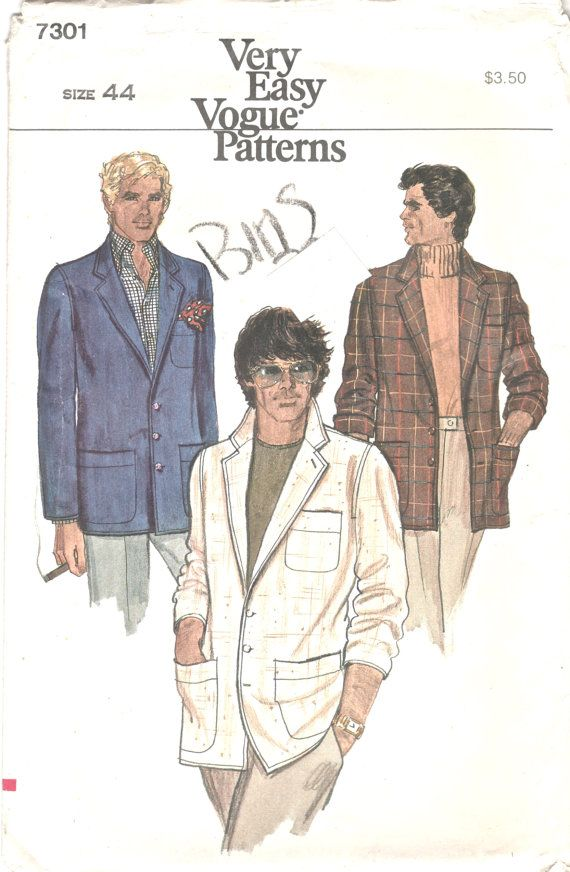 Vogue 7301 1970s Mens Unlined Jacket Pattern Miami Vice Style Adult ...