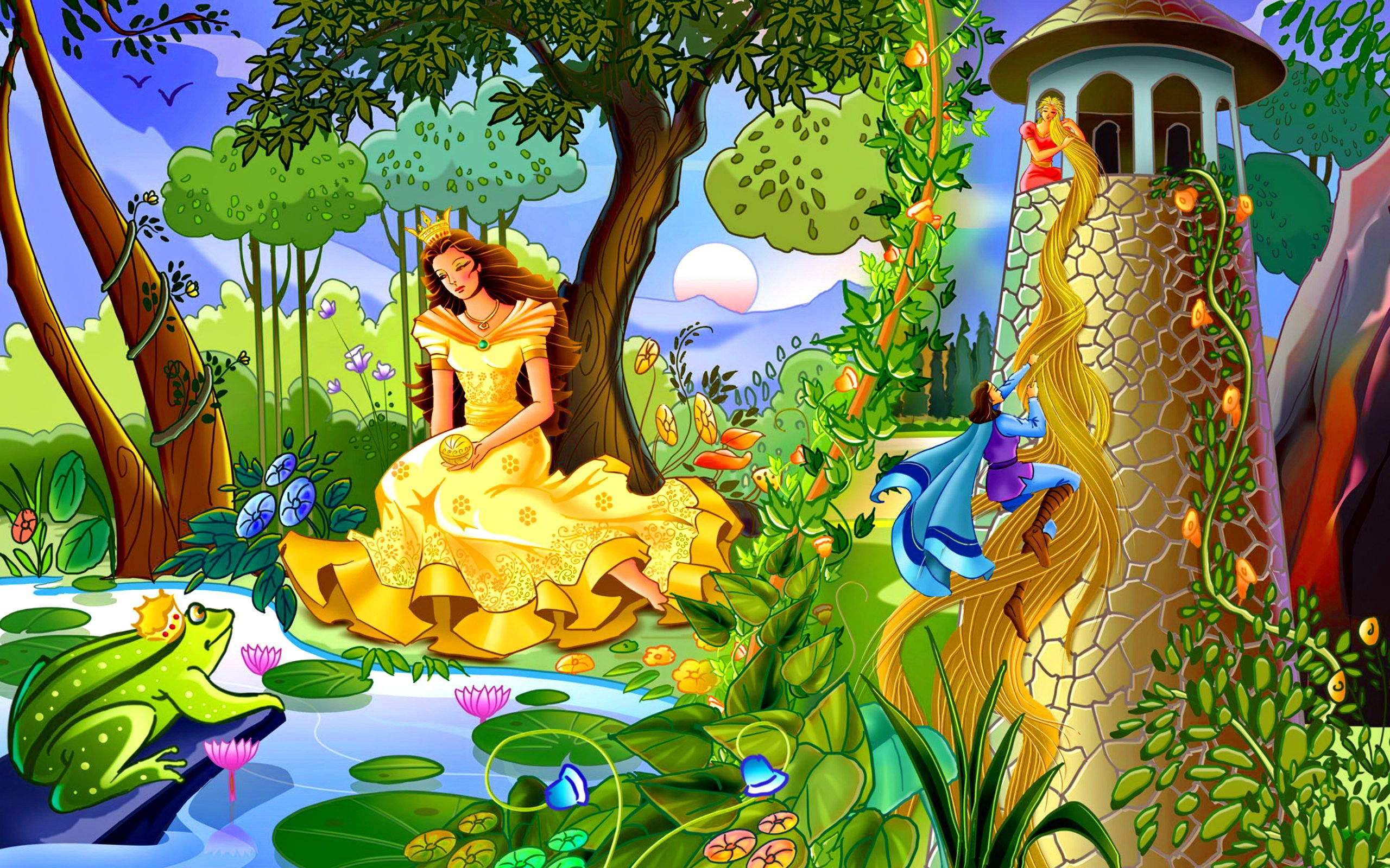 Colorful Fairytale Wallpapers Hd Free 324520 Cartoon Wallpaper World Wallpaper Cartoon Painting