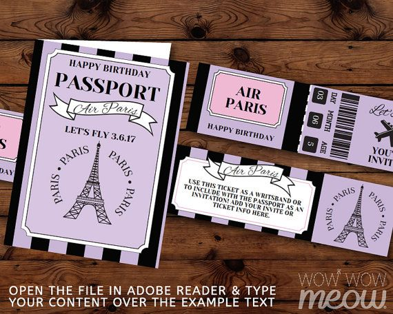 PARIS Birthday Invitation Passport Plane Ticket by wowwowmeow