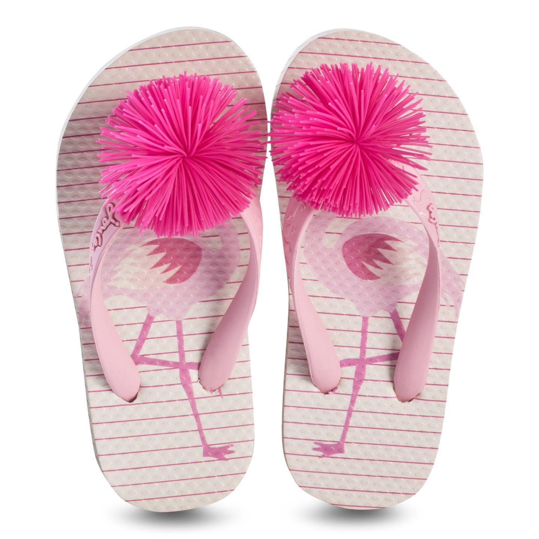 d4cef99532bc2a Joules Pink Flamingo and Stripe Print Pom Pom Flip Flops ...