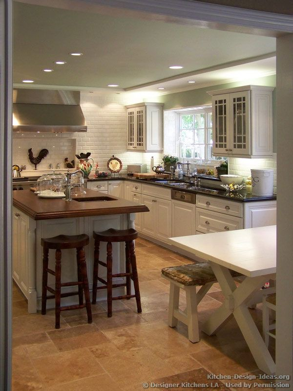 Country Picnic Table Wood Island Top  Designer Kitchens La #25 Glamorous Designer Kitchen Ideas 2018