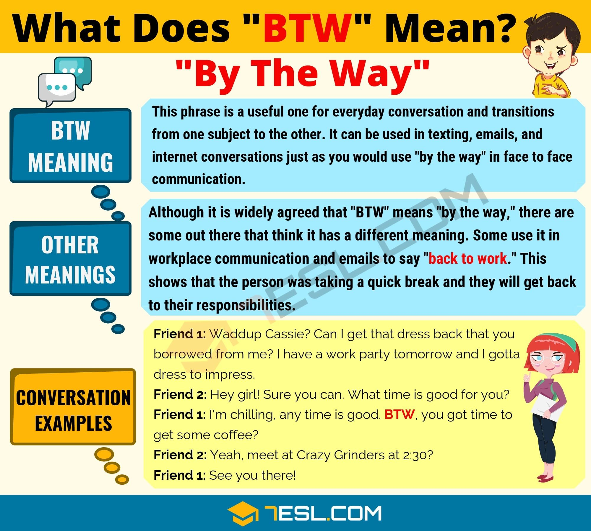 What does BTW By the Way mean? | Slang words, Text