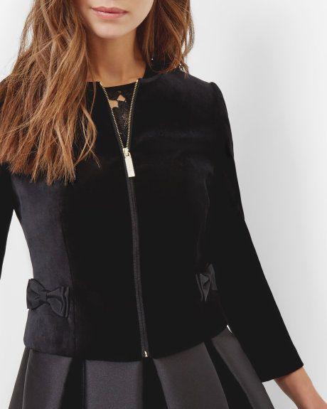 f5532130d Cropped velvet bow jacket - Black