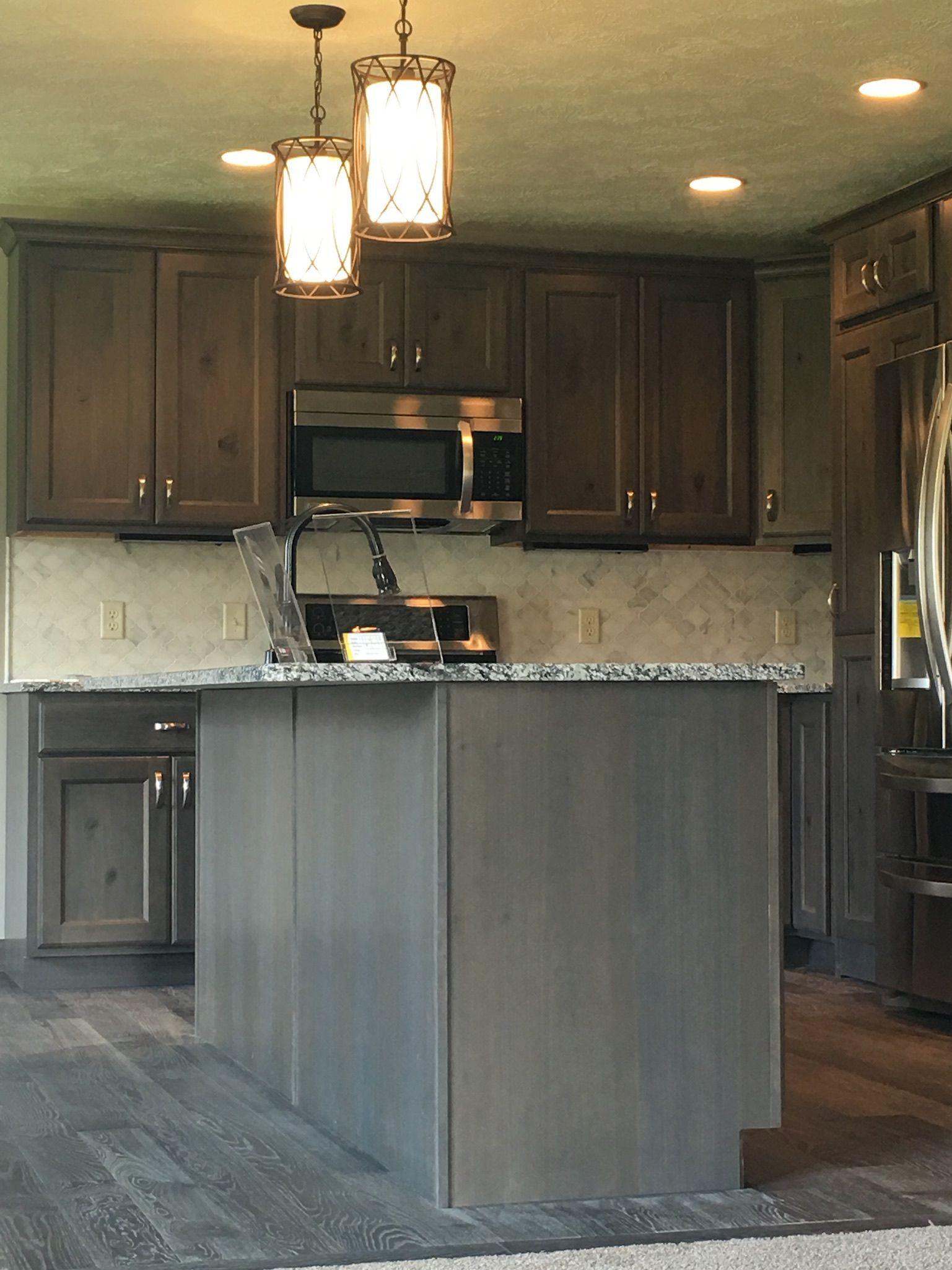 "white marble kitchen backsplash. 3"" arabesque lantern inset above"