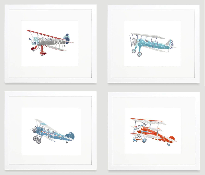 Vintage Airplane Prints Set Of 9 Digital Download Wall Etsy Vintage Airplane Prints Baby Wall Art Airplane Nursery Art