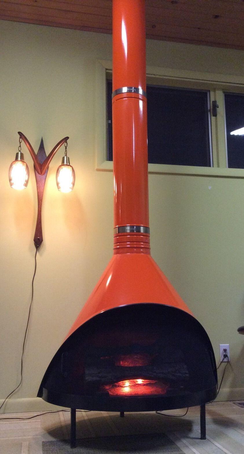 Mid Century Modern Retro Orange Preway Freestanding Cone