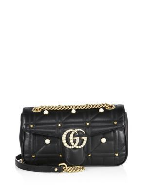 GUCCI Small GG Marmont Studded Matelassé Leather Chain Shoulder Bag. #gucci #bags #shoulder bags #lining #suede #