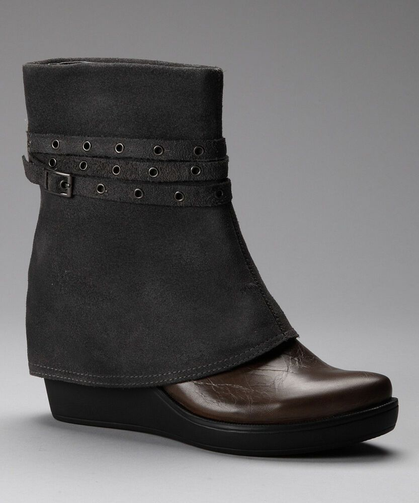 d3e8906d101 ANTELOPE SHOES BELTED WEDGE BOOT GREY SUEDE LEATHER PULL ON ANKLE BOOTIES  37 NEW  Antelope  Booties