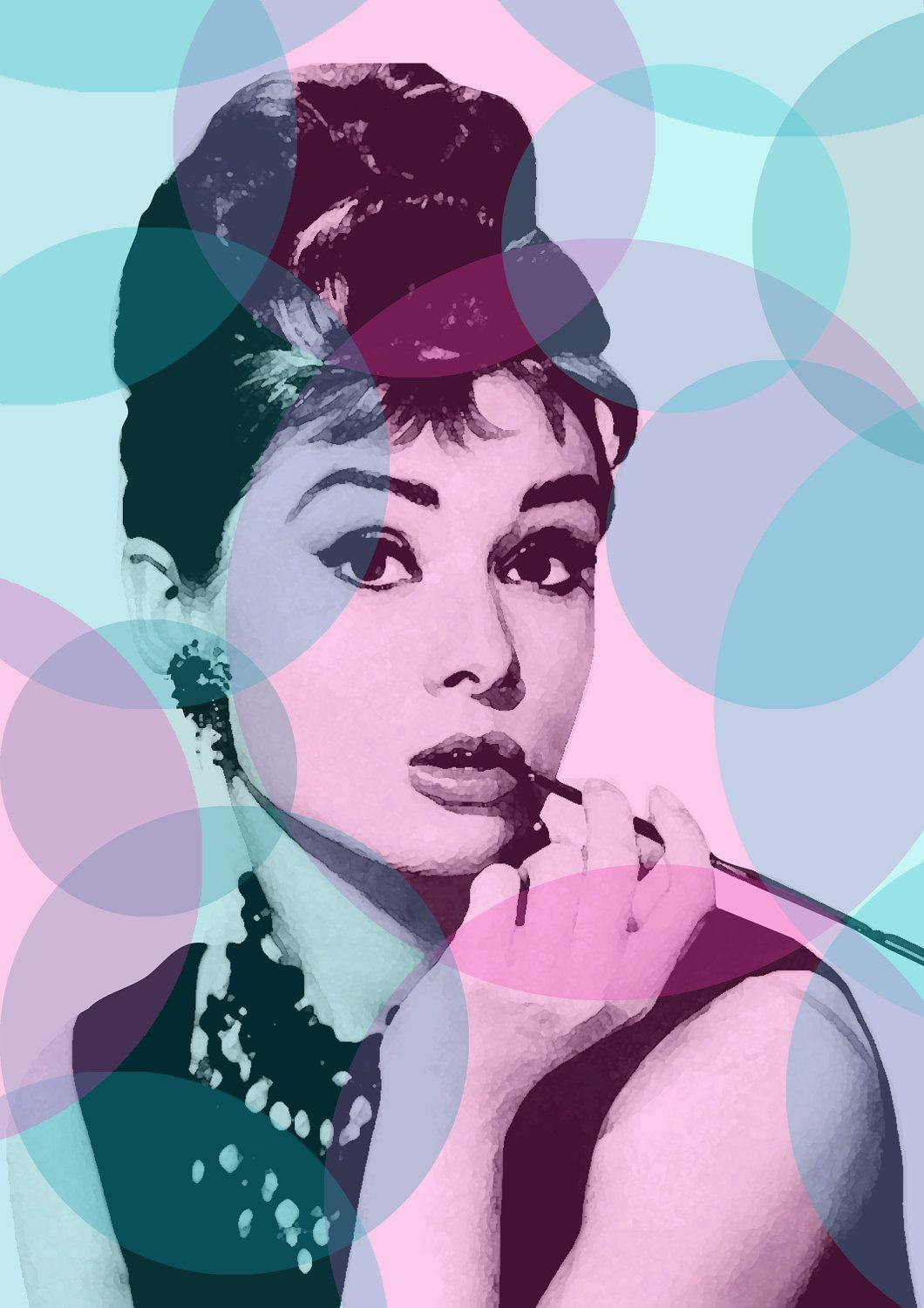 digital download audrey hepburn audrey hepburn poster breakfast at tiffany 39 s pop art. Black Bedroom Furniture Sets. Home Design Ideas