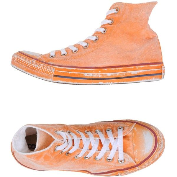 Converse Limited Edition High-tops & Trainers (485 RON) ❤ liked on Polyvore featuring shoes, sneakers, orange, orange high tops, orange sneakers, orange shoes, hi tops and converse sneakers