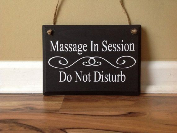 Massage In Session Do Not Disturb Door Hanger wood hand painted