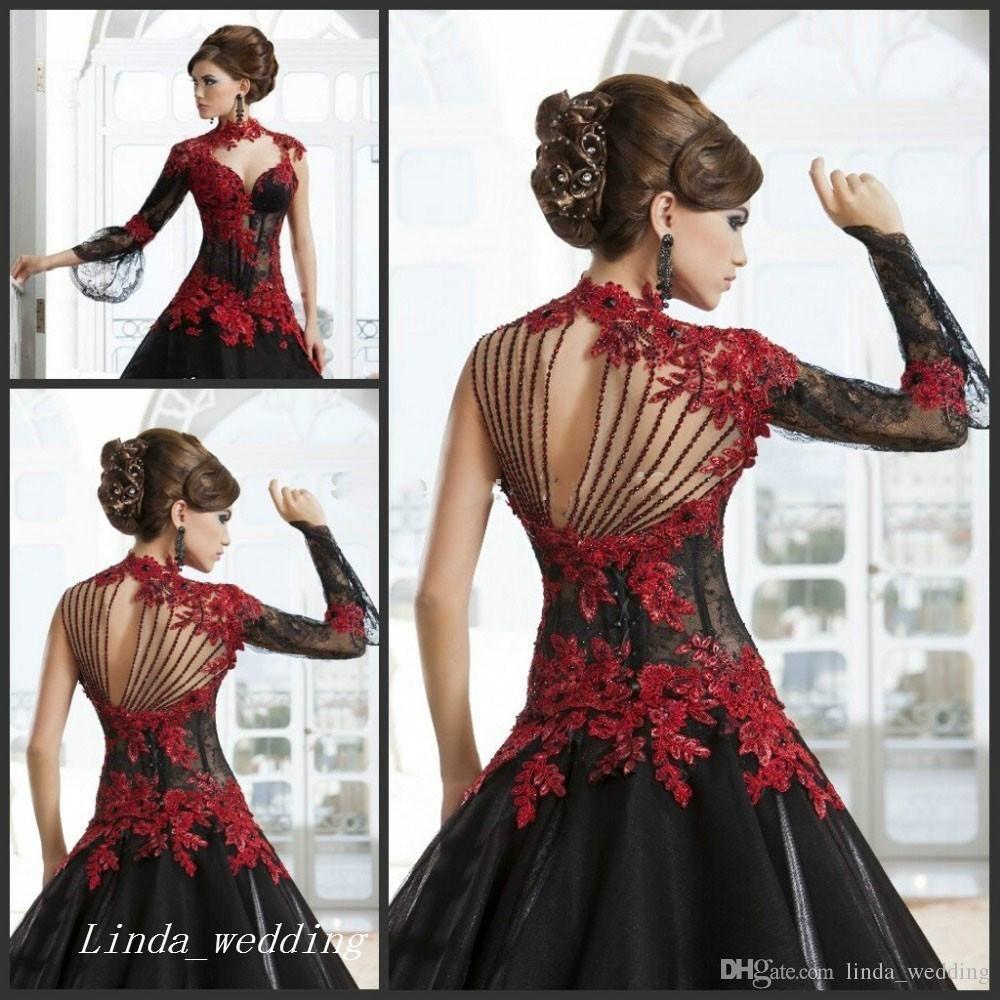 2017 Victorian Gothic Masquerade Wedding Dress Black And Red Dress Formal  Event Gown Plus Size Robe De Soire Vestido De Festa Longo Ball Gown Ball  Gown ... 81f6953a7