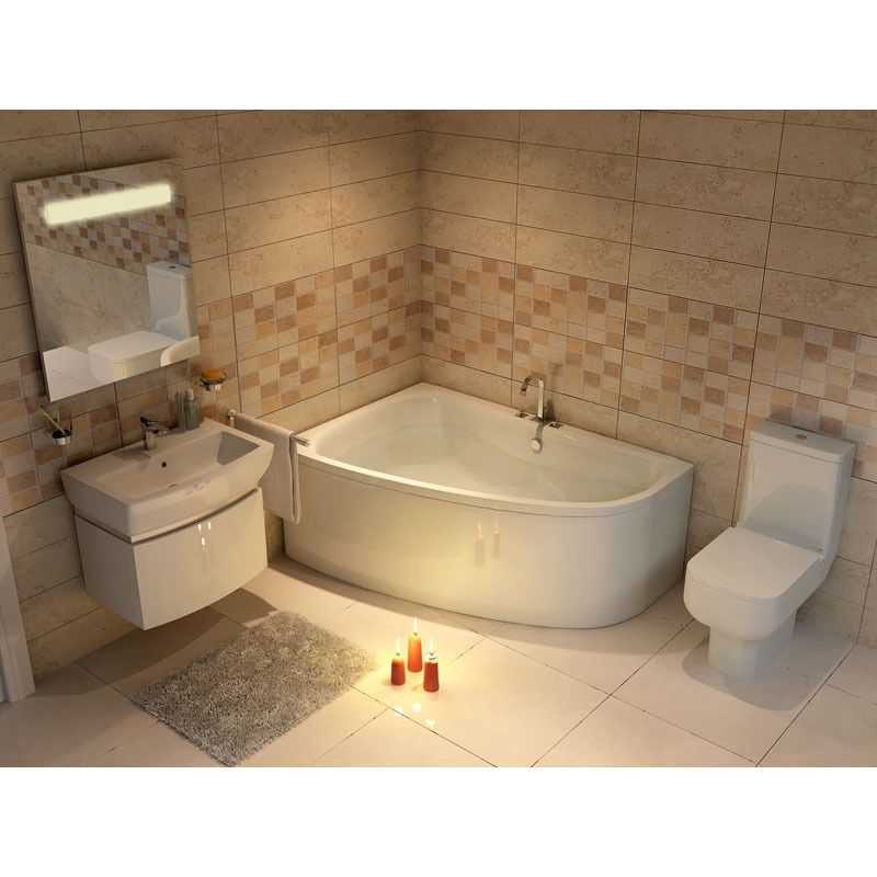 Modern off set curved corner single ended bath tub panel screen ...
