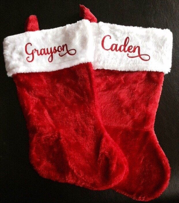 Personalized Red Plush Stocking - Christmas Stockings - Unique Christmas Décor- Baby's First Stocking- Affordable Personalized Stocking by MissSadiesDesigns on Etsy https://www.etsy.com/listing/247219824/personalized-red-plush-stocking