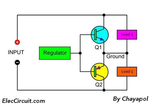 Power Supply Splitter Circuit Using Op Amp Power Supply