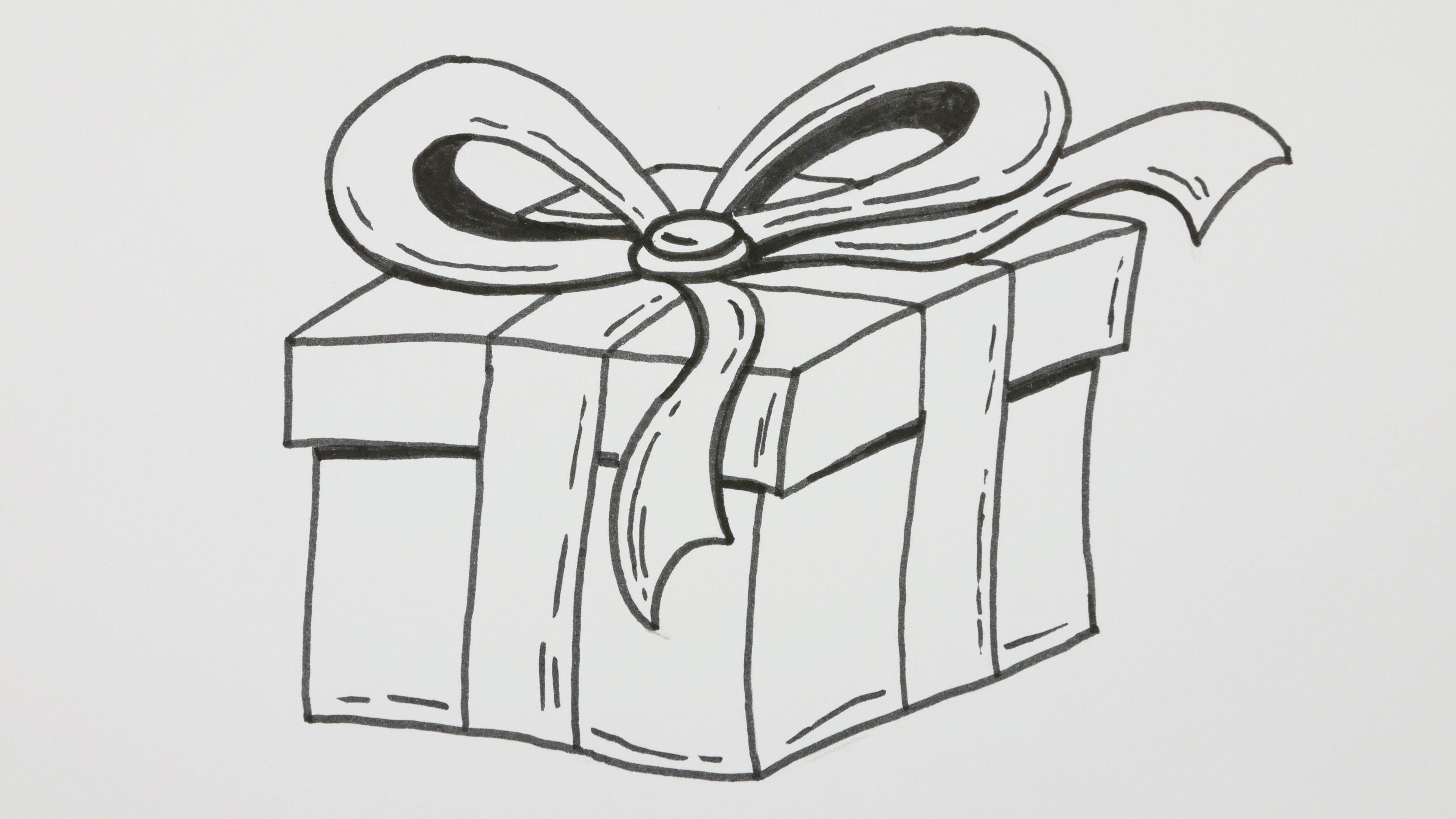 Christmas Gift Box Drawing.How To Draw A Happy Birthday Gift Box With Bowknot Cartoon