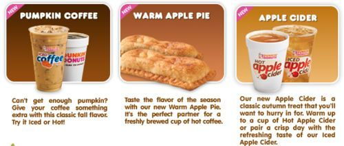 Food News: Dunkin' Donuts Fall Flavors Menu (With images ...