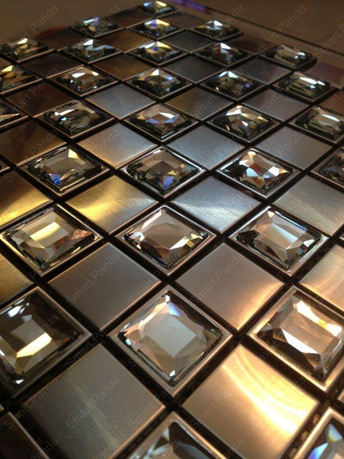Online Shop Stainless Steel Mosaic tile Backsplash matt cooper color with  glass