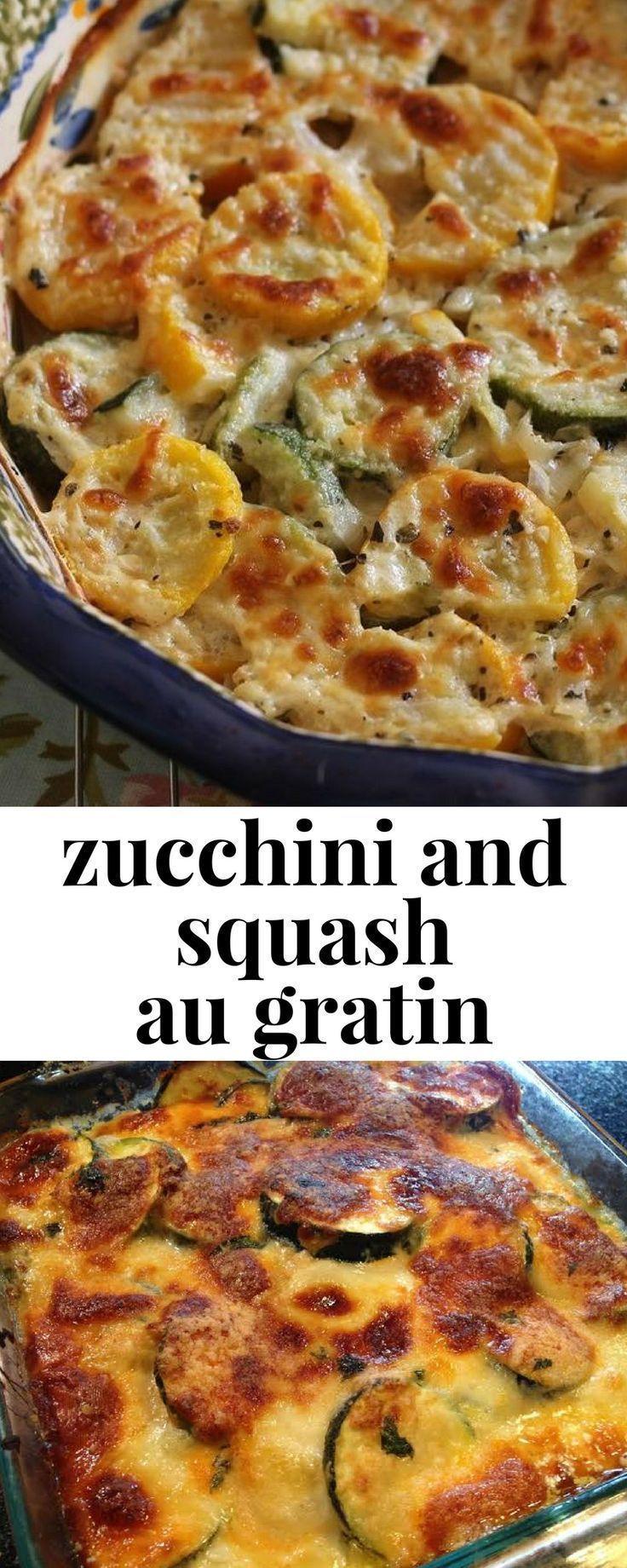 Diese gratinierte Zucchini-Kürbis-Beilage ist eine köstliche …