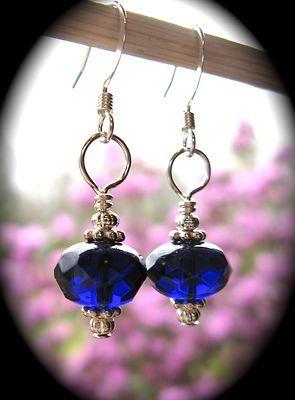 買 Olde Castle Arts ~ Simple Cobalt Blue Glass Saucer Earrings