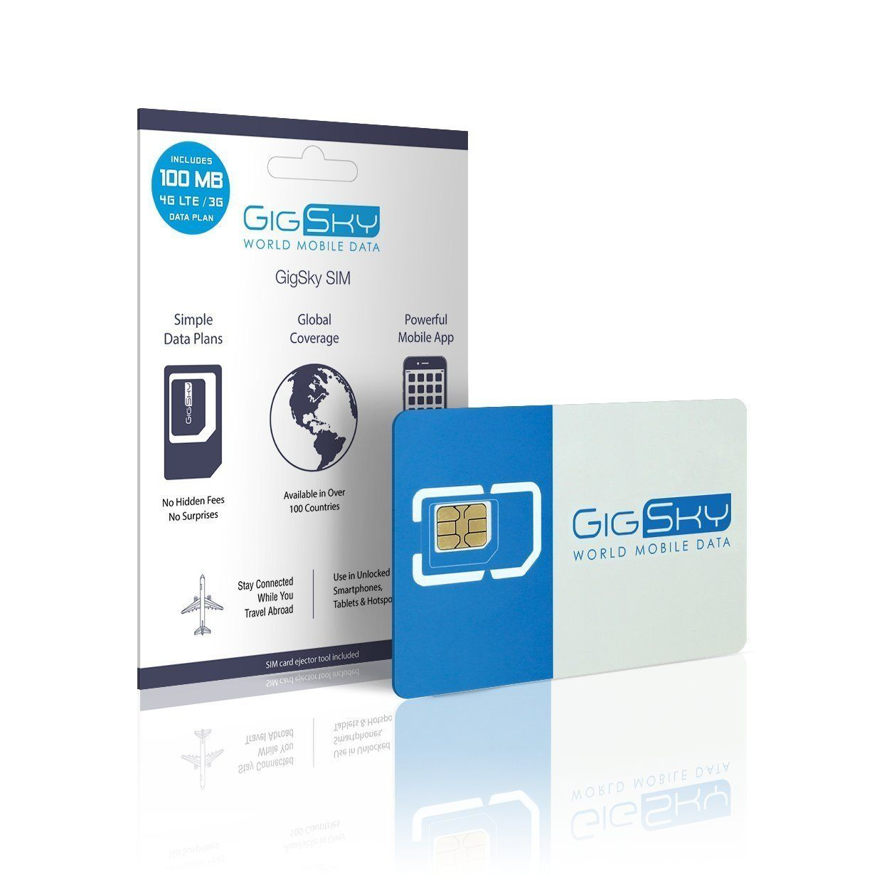GigSky SIM Card with 4G LTE/3G 100MB Mobile