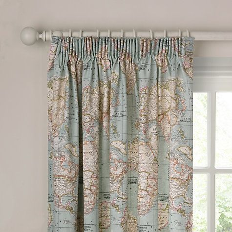 World Map Lined Pencil Pleat Curtains