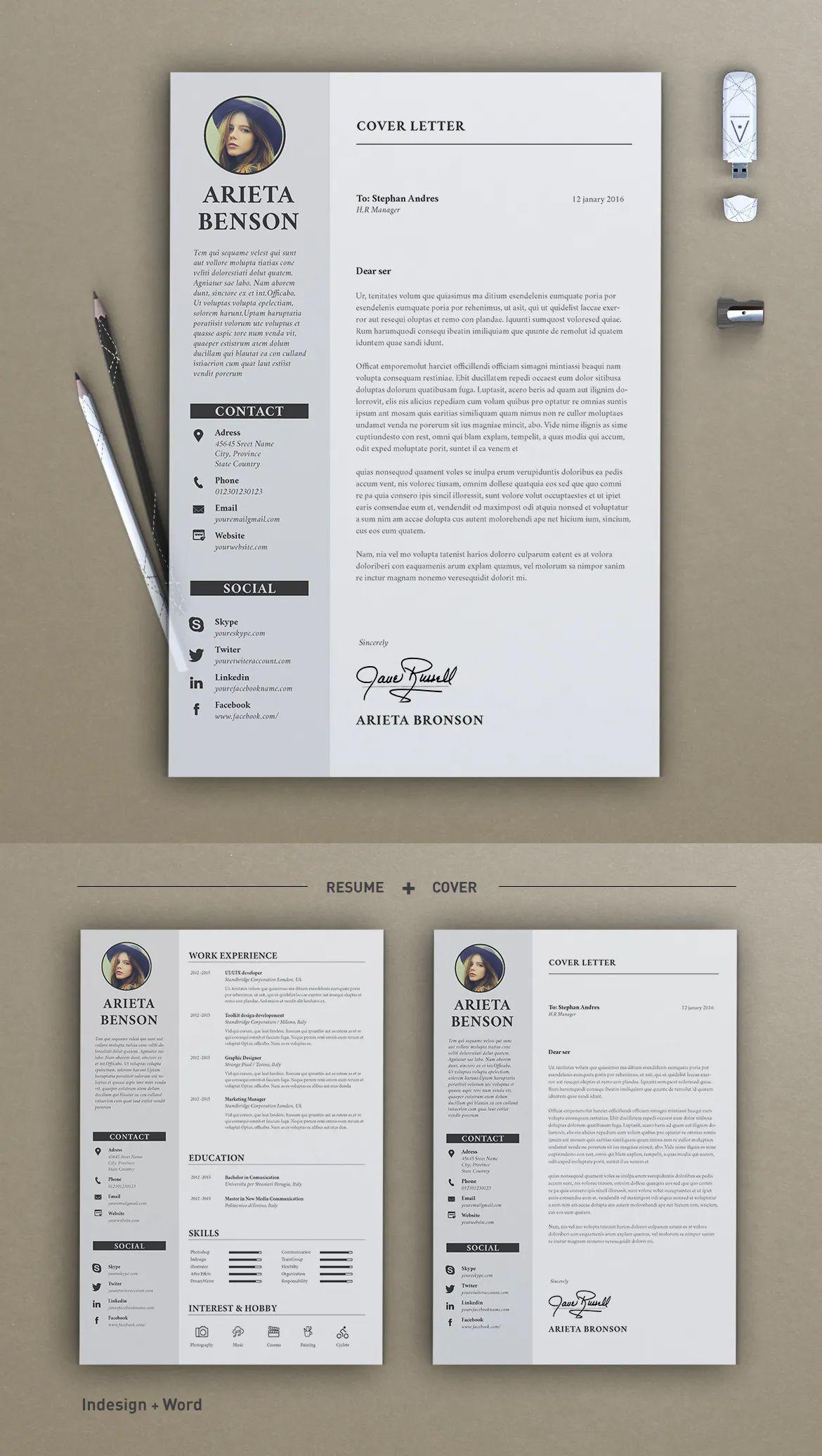 Resume Arieta By Sz81 On Envato Elements Resume Cv Design Template Resume Templates