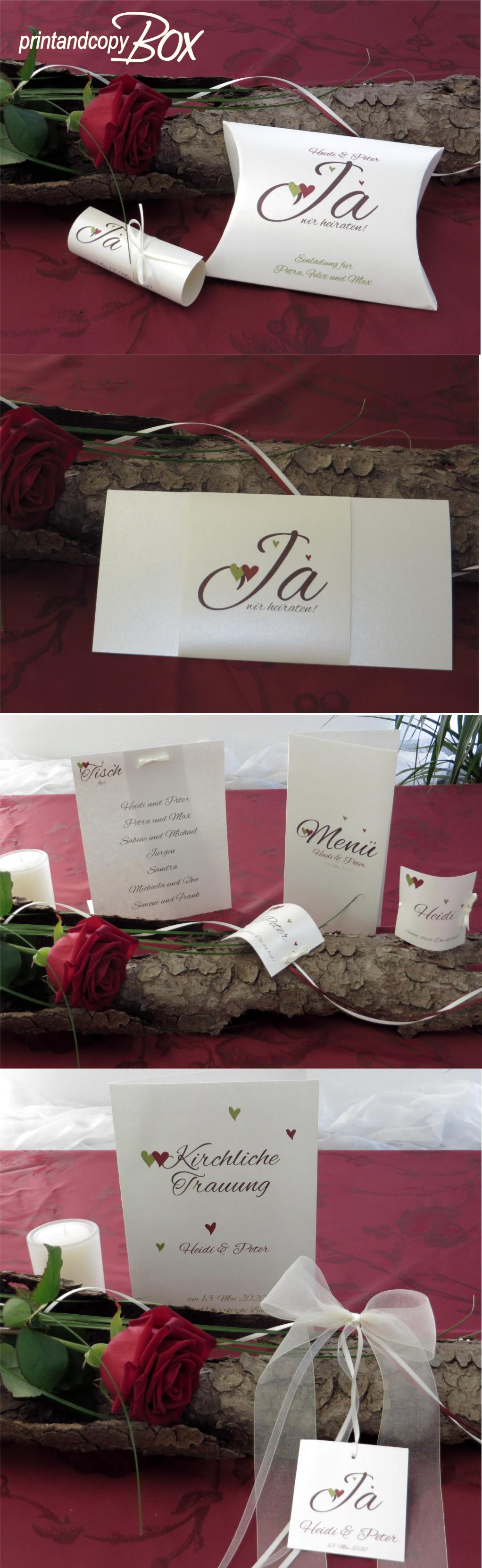 Hochzeitseinladungen in besonderer Form mit passender Tischdeko