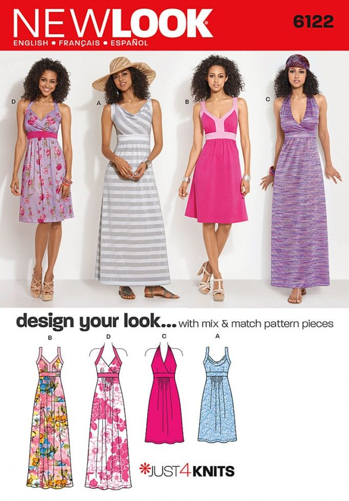 004d7f8719b New Look Ladies Easy Sewing Pattern 6122 Jersey Dresses | Sewing | Patterns  | Minerva Crafts