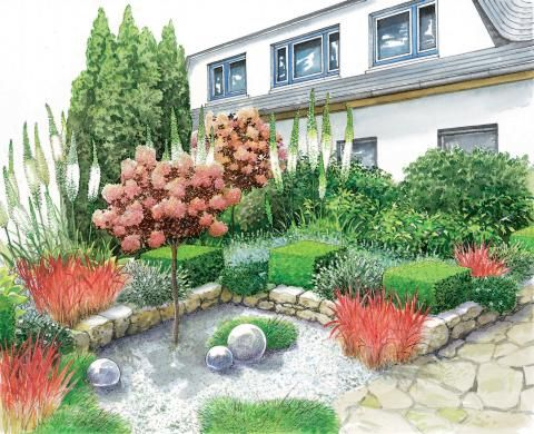 Gestaltungsideen f rs vorgartenbeet m bel pinterest for Pflanzengestaltung garten