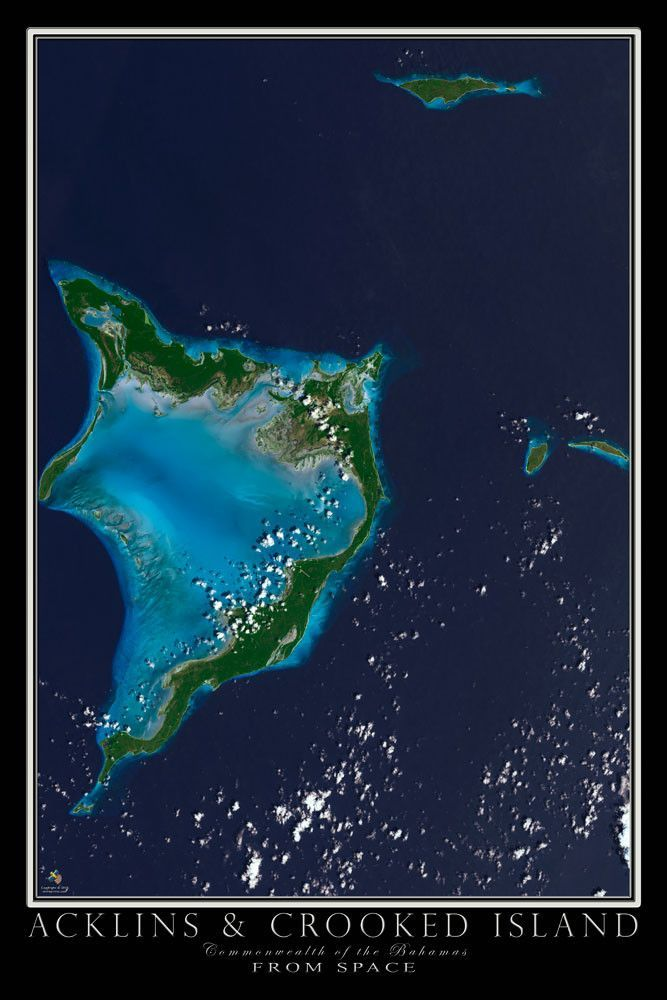 Acklins And Crooked Island Bahamas Satellite Poster Map Islands In - Us-map-night
