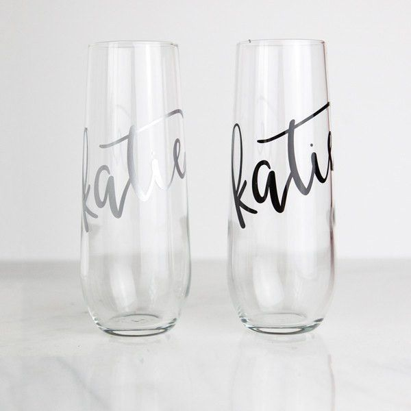 4b059b925dd Pop the bubbly, our stemless champagne flutes are perfect bridesmaid gifts!  These are also lovely for bridal showers, bachelorette parties, or  rehearsal ...