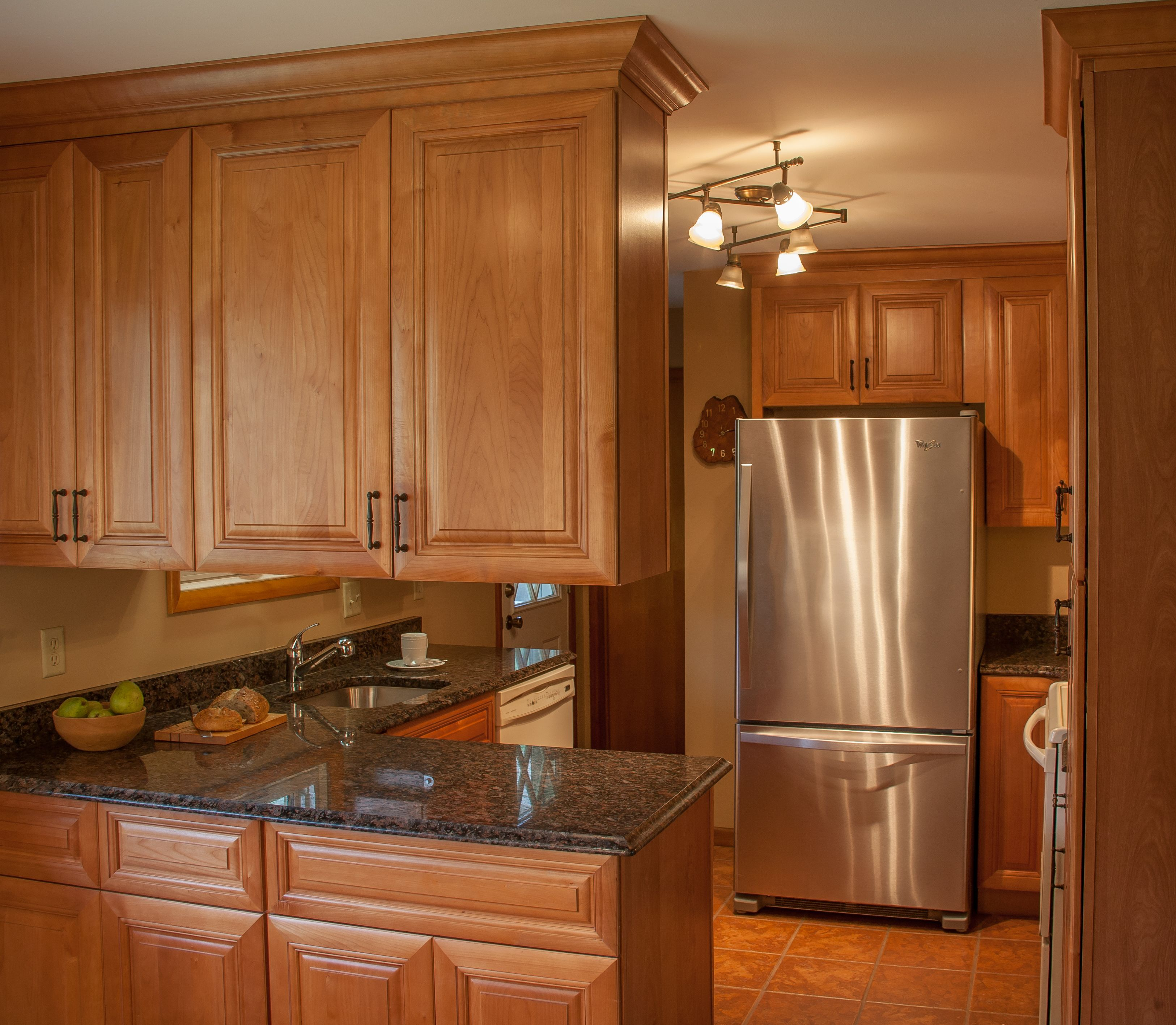 Coffee Brown Granite And Allwood Cabinets