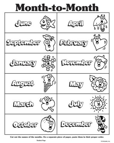 Months Of The Year Clipart Black And White Months In A Year Flashcards Learning English For Kids Printableworksheets days of month