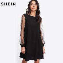 498d05c6ab03 SHEIN Delle Donne Eleganti Abiti Pearl Bordare Maglia Manica della Tunica  del Vestito di Autunno Nero