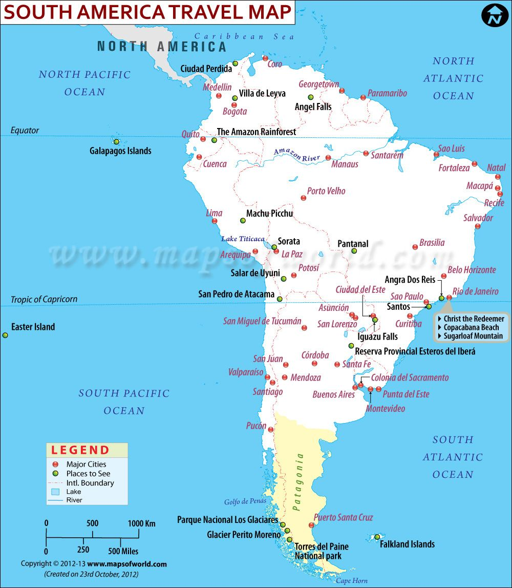 South America Travel Information Map Tourist attractions Major