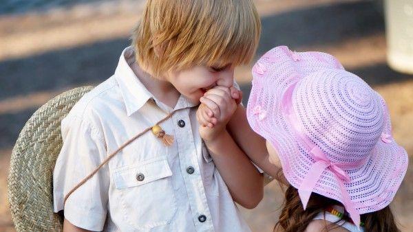 Download Gentle Little Boy With His Girlfriend Wallpaper Hd