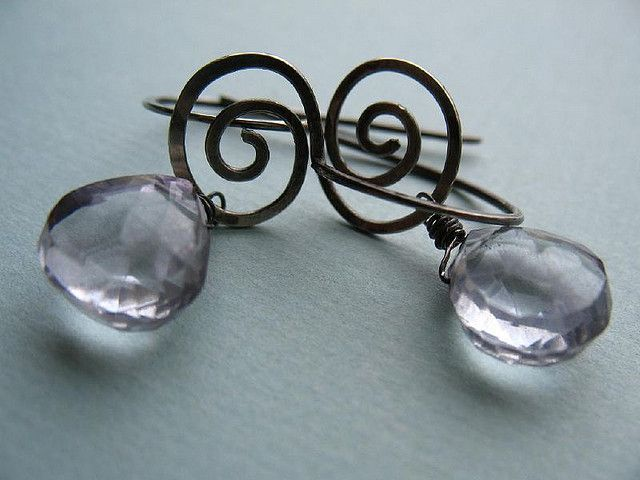 https://flic.kr/p/4c1phM | Ice Drop Earrings | A nice simple pair of earrings:  hand-formed ear wires and spirals with gray topaz tear drops.