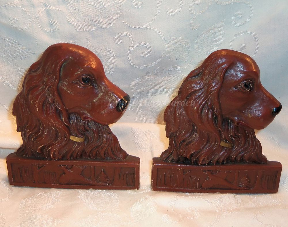 Vintage Irish Setter Dog Bookends Set Brown 5.5 Inches Tall #Unbranded