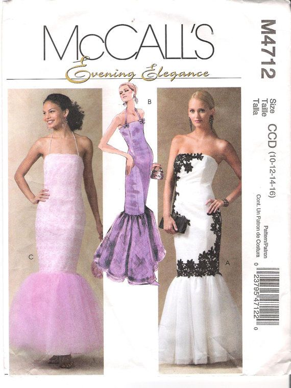 d384f558589 Strapless Mermaid Dress Sewing Pattern McCall s 4712 Sizes 10