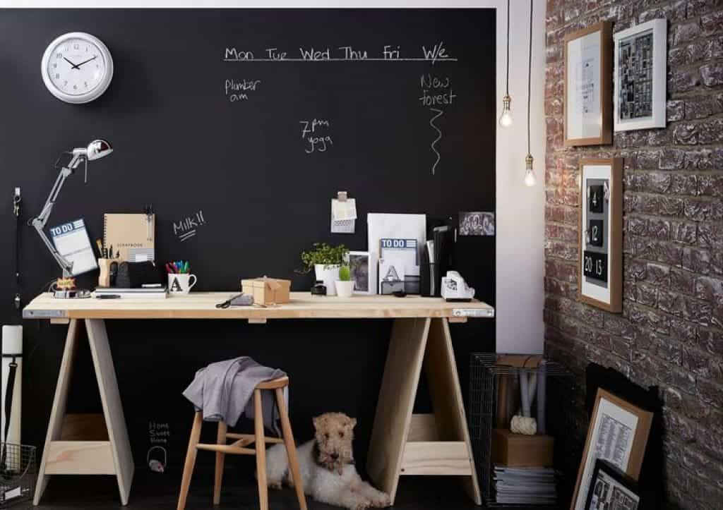 chalkboard office. Home Office With Chalkboard Walls And Small Wall Clock D