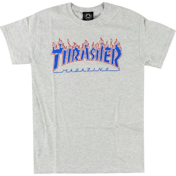f05e08043d8fe Thrasher Magazine Patriot Flame Ash Heather T-Shirt X-Large ($20) ❤ liked  on Polyvore featuring tops
